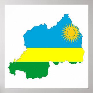 rwanda country flag shape map symbol poster