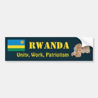 Rwanda Flag + Map Bumper Sticker Car Bumper Sticker