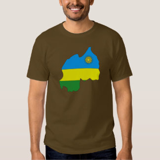 Rwanda flag map t shirt