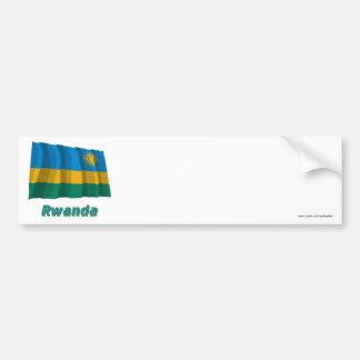 Rwanda Waving Flag with Name Car Bumper Sticker