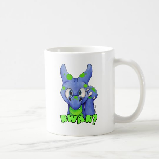 RWAR? (Blue) Cute baby dragon roaring Coffee Mug