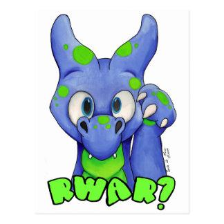 RWAR? (Blue) Cute baby dragon roaring Postcard