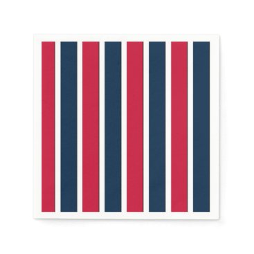 USA Themed RWB Baseball Coord Stripes 1-PAPER PARTY NAPKINS
