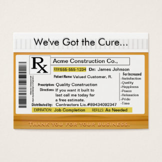 RX Cure Customized Sales Card