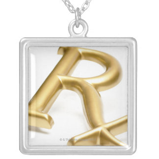 Rx drug sign silver plated necklace