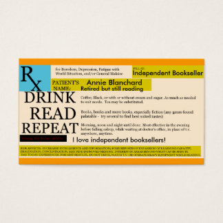 Rx for Boredom, Coffee, Read Repeat... Business Card