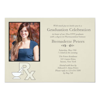 Rx Pharmacy School Photo Graduation Invitation