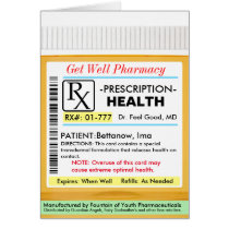 RX Prescription for Health Get Well Card