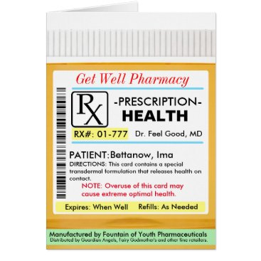 rxmugs RX Prescription for Health Get Well Card
