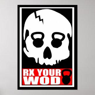 RX su WOD - poster del cráneo de Kettlebell
