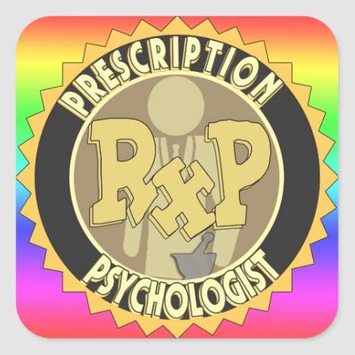 RxP prescription Psychologist LOGO Round Square Sticker