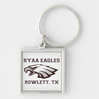 RYAA Logo Gear Silver-Colored Square Keychain
