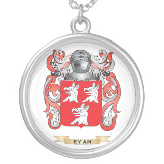 Ryan Coat of Arms (Family Crest) Round Pendant Necklace