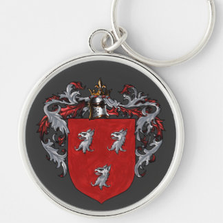Ryan Coat of Arms Silver-Colored Round Keychain