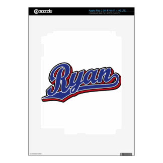 Ryan Deluxe Blue on Red Script Logo iPad 3 Decal