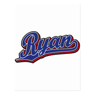 Ryan Deluxe Blue on Red Script Logo Postcard