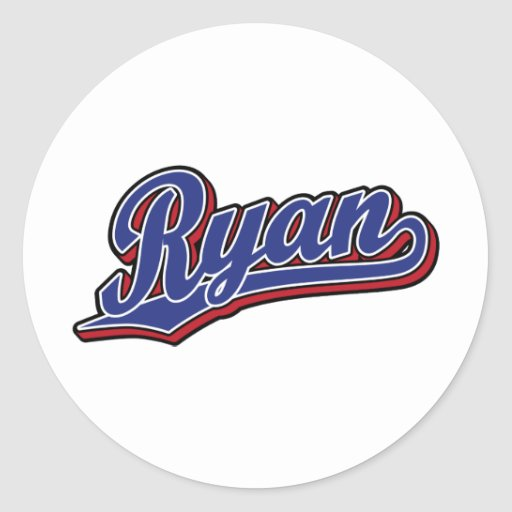Ryan Deluxe Blue on Red Script Logo Stickers