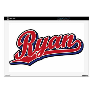 "Ryan Deluxe Red on Blue Script Logo 17"" Laptop Skins"