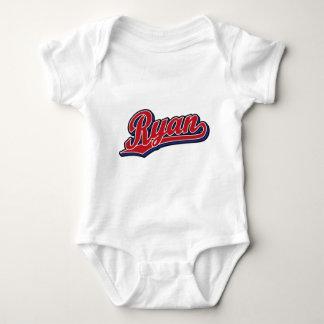 Ryan Deluxe Red on Blue Script Logo Baby Bodysuit