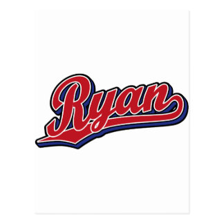 Ryan Deluxe Red on Blue Script Logo Postcard