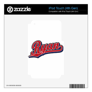Ryan Deluxe Red on Blue Script Logo Skins For iPod Touch 4G
