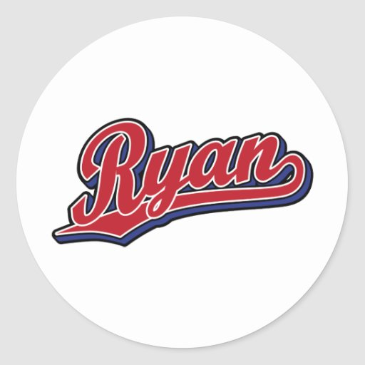 Ryan Deluxe Red on Blue Script Logo Round Stickers