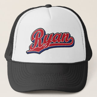 Ryan Deluxe Red on Blue Script Logo Trucker Hat