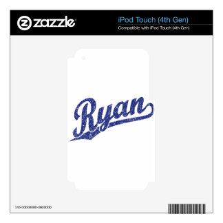 Ryan Distressed Blue Script Logo Decals For iPod Touch 4G