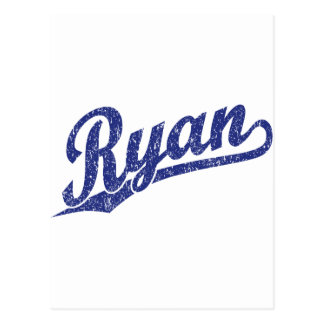 Ryan Distressed Blue Script Logo Postcard