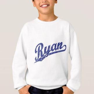 Ryan Distressed Blue Script Logo Sweatshirt