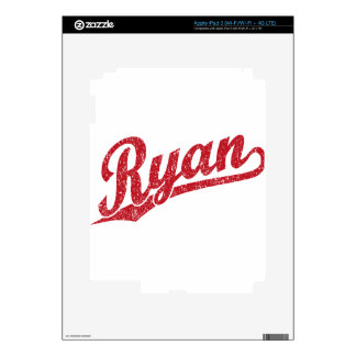 Ryan Distressed Red Script Logo Decal For iPad 3