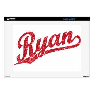 Ryan Distressed Red Script Logo Decals For Laptops