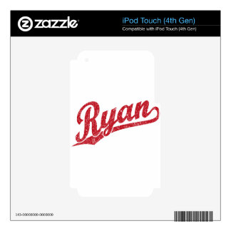 Ryan Distressed Red Script Logo iPod Touch 4G Decals