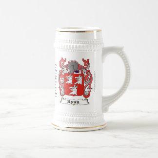 Ryan, el origen, el significado y el escudo en un  jarra de cerveza