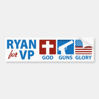 Ryan for VP God Guns Glory Bumper Sticker