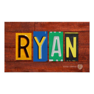 RYAN License Plate Lettering Name Sign Poster