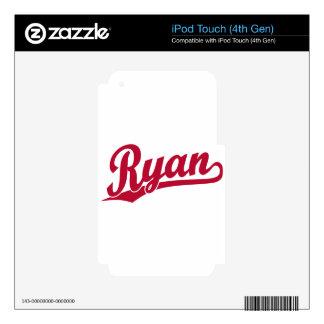Ryan Red Script Logo iPod Touch 4G Decals