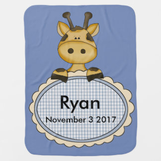 Ryan's Personalized Giraffe Stroller Blanket