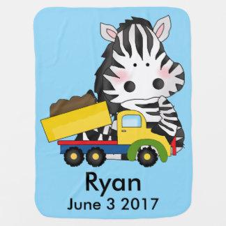 Ryan's Personalized Zebra Receiving Blanket