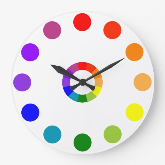 ryb color wheel numberless large clock. Black Bedroom Furniture Sets. Home Design Ideas