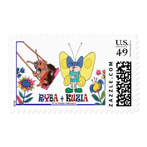 """Ryba and KUzia-3"". Postage Stamp"