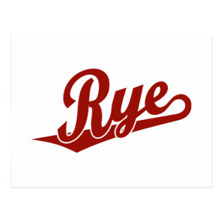 Rye script logo in red postcard