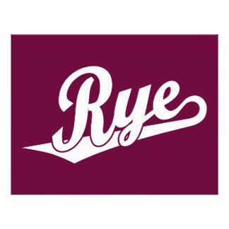 Rye script logo in white flyer