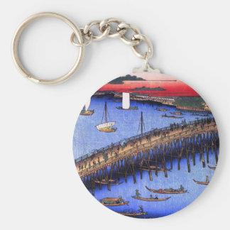 Ryōgoku Bridge and the Great Riverbank (両国橋大川ばた) Basic Round Button Keychain