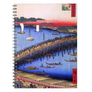Ryōgoku Bridge and the Great Riverbank (両国橋大川ばた) Spiral Notebook