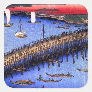 Ryōgoku Bridge and the Great Riverbank (両国橋大川ばた) Square Sticker