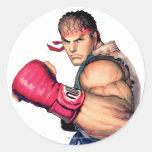 Ryu con el puño aumentado pegatina redonda