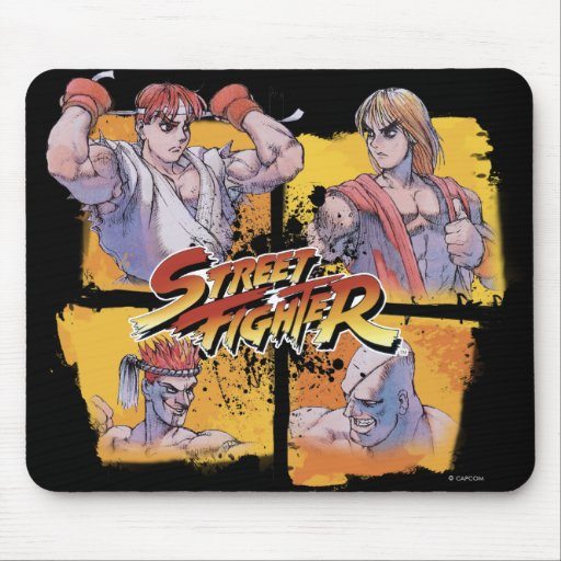 Ryu contra Ken y Adon contra Sagat Mouse Pads