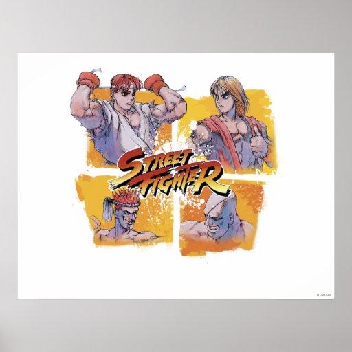Ryu contra Ken y Adon contra Sagat Posters