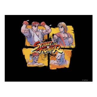 Ryu contra Ken y Adon contra Sagat Postal